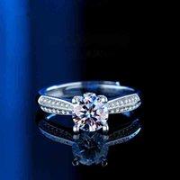 gemstone rings princess cut diamond Imitate White Gold 925 silver Prong setting Solitaire starlight Moissanite Celtic Womens wedding Gift