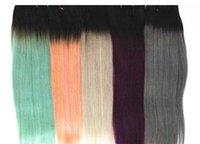 RAW Human 4 Extensions Double WeFts 1b / Blonde 1b / Grigio-chiaro 1b / Rosso Bundles indiani per capelli indiani 10-18 pollici