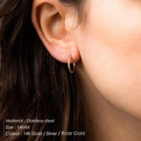 Hoop & Huggie 8 10 14 MM Stainless Steel Ear Buckle For Women Simple Classic Small Earrings Stud Thin Hoops Jewelry Gift