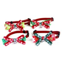 Dog Collars & Leashes Christmas Pet Cat Collar With Bells Supplies Necklace Bowknot Bow Tie For Puppy Baby Mini