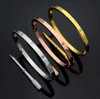 디자이너 팔찌 4mm 얇은 패션 2021 Bangles 티타늄 강철 사랑 s 실버 로즈 골드 Bangles 여성 남성 스크류 드라이버 커플