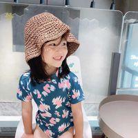 Kinder Liebe Blume Badeanzüge 2021 Sommer Mädchen Backless Kurzarm Siamese Schwimmen Koreanische Stil Kinder Beachwear A5992