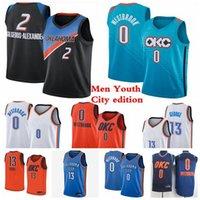 الرجال الاطفال 2 gilgeous-الكسندر الفانيلة 0 Westbrook 13 جورج كرة السلة الفانيلة 2020/21 مدينة الطبعة الجديدة الفانيلة الأزرق الأبيض الشباب S-3XL