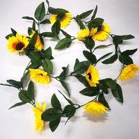 Decorative Flowers & Wreaths 10 Heads Artificial Yellow Sunflower Garland Flower Vine Wedding Floral Arch Decor Silk