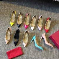 Top Designers Genuíno vestido de couro sapatos moda salto alto senhoras sapato casual festa de escritório vestido shoee com caixa grande tamanho 35-43
