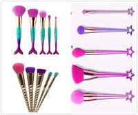 Fairy Series 5pieces sets Limited Edition Makeup Brush Set Star Handle Fishtail Brush With Retail Box Case