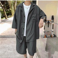 Men's Tracksuits 2021 Summer Oversized Sets Shirt With Shorts Polyester Solid Suit Collar Short Sleeve Baggy Pants Big Size Casual Clothing