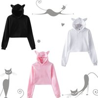 New style tidal current Hoodies cross border hot search manufacturers direct sale navel cat ears blank hoodies coat 20HUANGTAIWANG