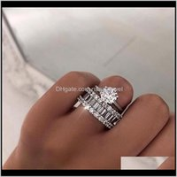 Unique 2Pcs Couple Rings Classical Jewelry Six Claw Real 925 Sterling Silver White Topaz Stack Cz Diamond Women Wedding Bridal Ring 1O Vsrpi