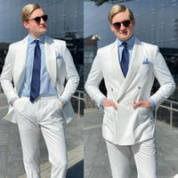 Gentleman White Business Tuxedos Double Breasted Groom Wedding Suits Formal Prom Party Outfit Two Pieces (Jacket+Pants)