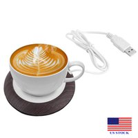 USB Cup Warmer Warmte Drinken Mok Mat Office Tea Coffee Tool Heater Pad Dark Wood Thermoses H0052 VS Stock Snelle levering
