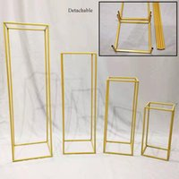 Party Decoration Metal Wedding Centerpiece Flower Stand Geometric Rectangular Frame Backdrop Road Lead Home