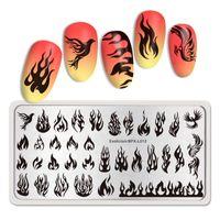 Nascido Bonito Retângulo Nail Stamping Placas Modelo de Aço Inoxidável Prego Art Image Estêncil Tema Fogo DIY Placa Ferramentas
