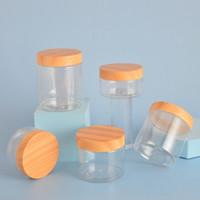 30ML ~ 120 ملليلتر زجاجة كريم البلاستيك البلاستيك، زجاجة فم واسعة مع غطاء الخشب البلاستيك الحبوب، العناية بالبشرة مواد تغليف المنتج