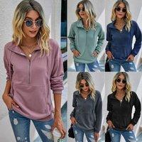 가을 솔리드 컬러 지퍼 포켓 풀오버 여성 스웨터 스웨터 후드 티 스웨터