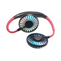 Favoris Favoris Mini Portable Portable Fan rechargeable à 360 degrés rotative rotative paresseuse suspendue bande de cou portable avec lampe LED LLA7166