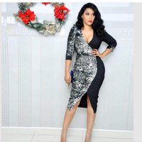 Ethnic Clothing African Dresses For Women Sexy Sequins Pure Color Splicing Deep V-neck Half Sleeves Split Elegant Pencil Tight Dress Short P
