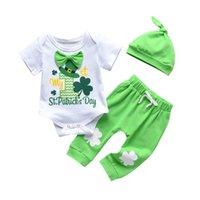 0-24 meses Newborn Infant Baby Girls St.Patrick's Day letra Bow Momber + Pants + Hat Trajes 1047 Conjunto de ropa para niños