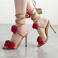 Dress Shoes Cross Bandage High Heels Sandals Women Pumps Thin Heel Rose Flower Lace-Up Summer Fashion Pompes De Femme