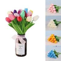 Мини PU Tulip искусственный цветок многоцветный простой ручной стиль DIY искусственные тюльпаны цветы для свадебных вечеринок украшения дома EWA4112