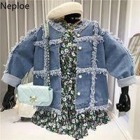 Women's Jackets Neploe Tassel Jacket Women Spring 2021 Korean Fashion Single Breasted Long Sleeve Ladies Coats Casual Denim Tops Femme 1B509