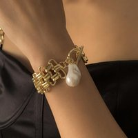 Link, Chain Trendy Imitation Pearl Pendant Bracelets For Women Cuban Thick Hip Hop Punk Bracelet Jewelry Accessories