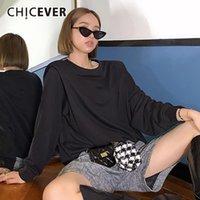 Женские толстовки для толстовки Chicever Chicever повседневная толстовка для женщин o шеи с длинным рукавом свободно вязание пуловера осенью женщина 2021 одежда т