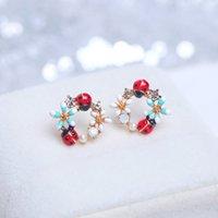 Stile coreano dolce colorato fiore per donne ragazze carino cristallo animale coccinella orecchini fascino partito gioielli regali