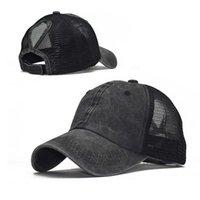 씻어 야구 모자 포니 테일 패션 조류 곡선 된 처마 메쉬 모자 모자 봄과 여름 여성 야외 스포츠 태양 모자