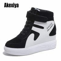 Новые высокопроизводительные кроссовки женские кружевные повседневные туфли с мехом теплые плоские платформы обувь студент сплошной зимний хлопчатобумажную обувь K953 зима BO B3MO #