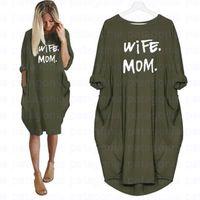 Femme Maman Robes d'été Casual Femmes Mode T-shirt T-shirt T-shirt À Manches longues Sundress Slim Robe sexy Plus Taille S-5XL