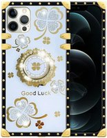 Phone cases Rhinestone with Bracket Four-Leaf Clover Diamond Square Edge Cover For Iphone Models 13 12 Mini 11 Pro Max XR XS 8 7 6 Plus All-Inclusive Anti-Fall