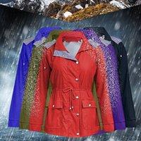 Women's Jackets Women Solid Rain Jacket 2021 Long Winter Female Outdoor Waterproof Hooded Raincoat Windproof Pocket Coat #WS