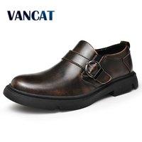 Vancat New Marke Herren Oxford Schuhe Echtes Leder Kleid Schuhe Mode Müßiggänger Hohe Qualität Beiläufige Wohnungen Männer Schuhe Größe 38-46 210302