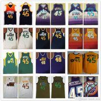 스티치 남자 청소년 키즈 도노반 45 Mitchell 유니폼 2021 새로운 도시 노란색 오렌지 블루 화이트 컬러 농구 대학 셔츠 빠른 배송