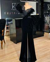 Sexy Black Velvet Jumpsuit Formal Evening Dresses One Shoulder Lace Appliques Plus Size Pantsuits Prom Gowns Robe De Soiree Custom Made