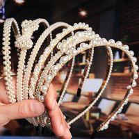 Мода лук корона жемчужный повязку для женщин девушки свадебные свадьбы свадебные волосы обруч мода ювелирные изделия будут и песчаный подарок