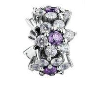 Oubliez-moi pas d'entretoises de fleurs en sterling clair CZ pour les bracelets de charme perlés de style Pandora PS2806