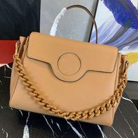 Tote Bag Große Kapazitätspaket Handtasche Crossbody Umhängetaschen Nahes Rindsleder Gold Metall Logo Kette Abnehmbare Zwei Riemen Hohe Qualität