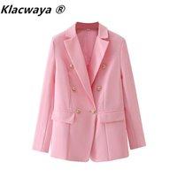 Women's Suits & Blazers Klacwaya Women 2021 Fashion Office Wear Double Breasted Blazer Coat Vintage Long Sleeve Pockets Female Outerwear Chi