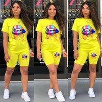 Womens Suits Plus Size Two Piece Set Women Summer Tracksuit Lounge Wear Outfits Short Sleeve Lip Print Top+Biker Shorts Sweat Suits