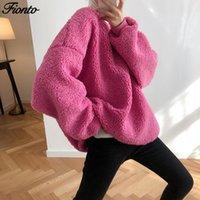 Женские толстовки для толстовки Fionto осень зима ягненка шерсть женские пуловеры топы сгущает свободная толстовка кампус повседневная женская одежда