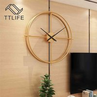Vintage Metal Wall Clock Modern Design For Home Office Decor Hanging Watches Living Room Classic Brief European Wall Clock 210902