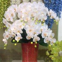 장식 꽃 화 환 홈 장식 실크 나비 난초 인공 phalaenopsis 꽃다발 웨딩 크리스마스 가짜 정원 화분
