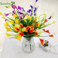 Suncho Masa Dekorasyon Çiçek Simülasyonu Gerçek Dokunmatik Faux Calla Yapay Yapay Çiçek Sahte Zambak Sucul Bitkiler Ev