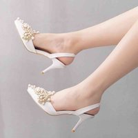 Dress Shoes Crystal Queen Summer pointed mid stiletto in high heels women's sandals back empty strass square buckle bombs H44M