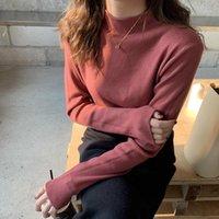 Camisas casuales de los hombres Kezrea Knit Backing Versión coreana de color sólido suelto 2021 Otoño e invierno Cuello redondo camisas1