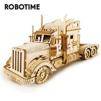 Robotime 1:40 286pcs Classic DIY Movable 3D America Heavy Truck Wooden Model Building Assembly Toy Gift for Children Adult MC502 210929