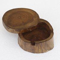 Cendrier sculpté en bois naturel en bois décoratif bois couvercle plateau cendrier porte-cigarette tabagisme ustensile ustensile art et artisanat Accessoires KKC6168