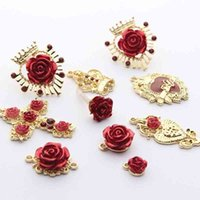 Golden Zinc Alloy Rose Flower Crown Cross Charms Base Connectors 6pcs/lot For DIY Jewelry Earrings Making Accessories